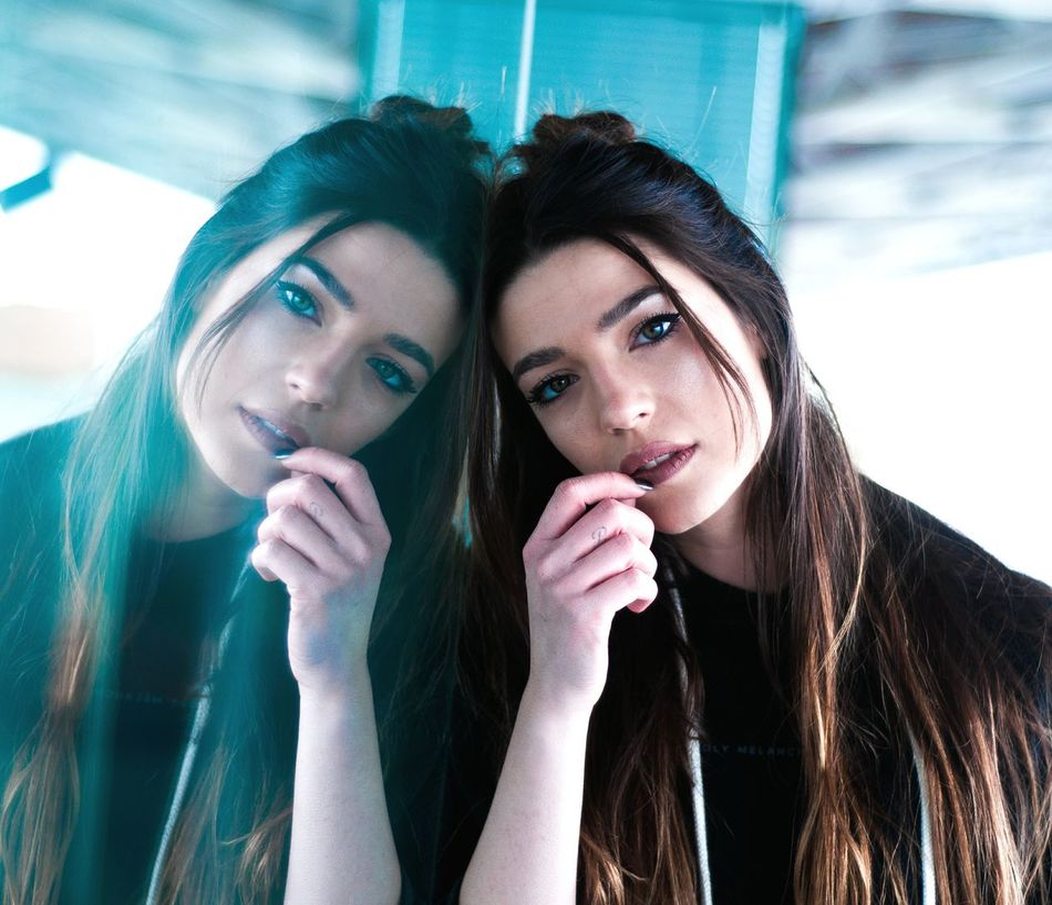 Perfect mirror Two People Young Adult Young Women Adults Only Friendship Women Beautiful People Only Women Portrait Bonding Fashion People Long Hair Adult Beautiful Woman Togetherness City Females Indoors  Sky Fresh On Market 2017
