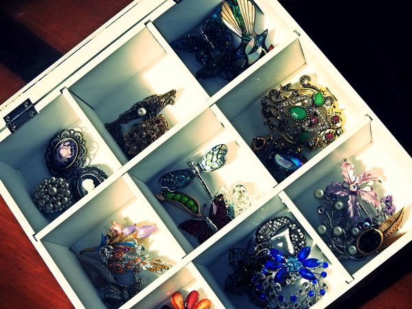 Fashion Stories Taking Photos Accessories Box - Container Brooch Pin Brooches Of Class Choice Close-up Day Flower High Angle View Indoors  Jewelry Large Group Of Objects Multi Colored No People Variation