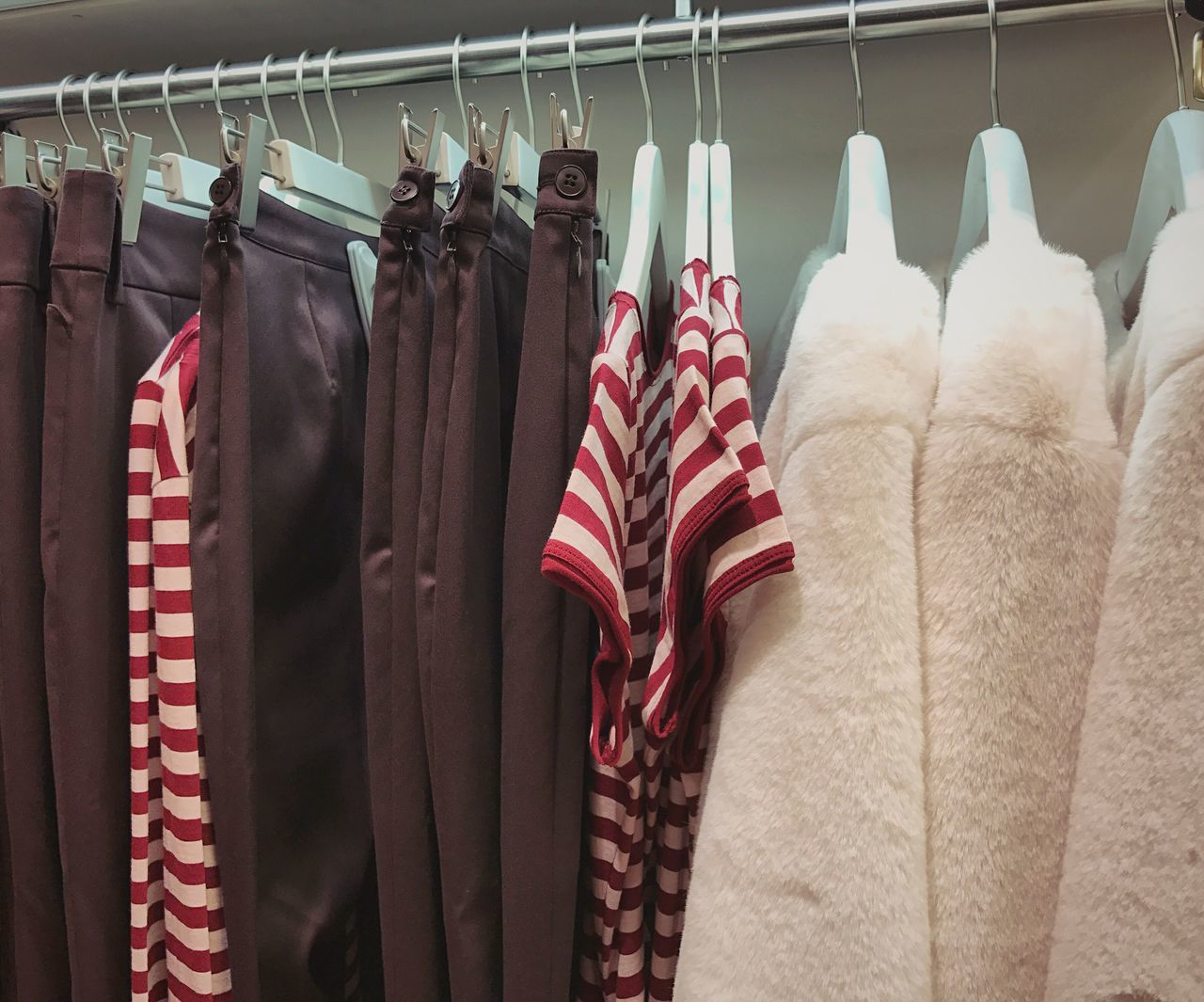 Shopping 👚👗👕 Hanging Coathanger Clothing Clothing Store Clothes Rack Retail  Choice Variation Large Group Of Objects Warm Collection Store No People Boutique Day Shop T-shirt Jacket Stripes Pattern Clothes Fashion Style