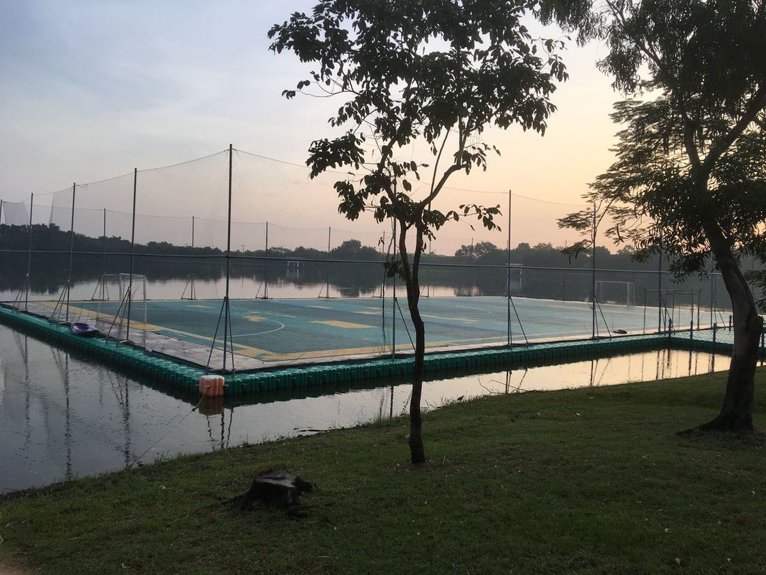 Sport ฟุตบอลผิวน้ำ Beauty In Nature Bridge - Man Made Structure Day Nature Nautical Vessel No People Outdoors Pedal Boat River Scenics Sky Sport Sunset Tranquility Tree Water