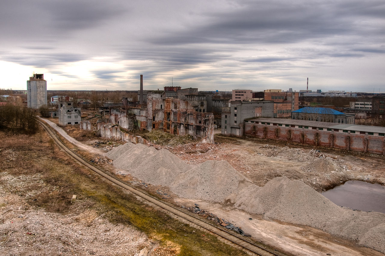 Abandoned Architecture Building Exterior Built Structure City Cityscape Cloud - Sky Day Demolishing Buildings Demolisio Derelict High Angle View History Industtry Landscape No People Outdoors Sky Sky And Clouds Urban Skyline Urbex