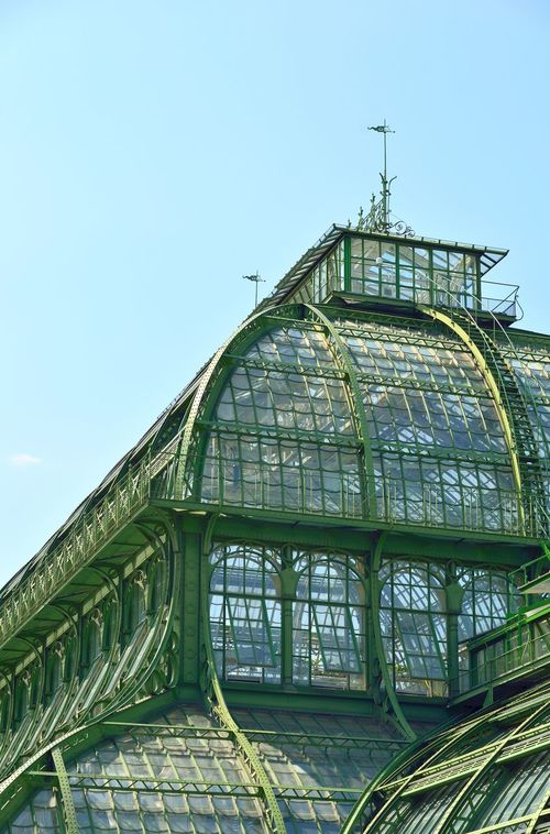 Palmenhaus roof, an old greenhouse in Wien, Austria Architecture Austria Building Exterior Built Structure Day Glass - Material Greenhouse Low Angle View Metal No People Old Old Buildings Outdoors Palmenhaus Palmenhaus Schönbrunn Schonnbrun Palace Schönbrunn Sky Travel Destinations Vienna Wein