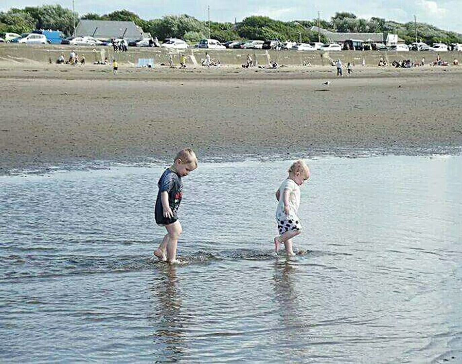 Ayr Beach Ayrshire Ayr Siblings ♡ My Babies Fun In The Sun Splashing Through The Water Not A Care In The World People Together