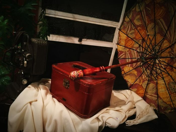 EyeEm Selects Red No People Indoors  Day Sack Close-up Antique Luggage Umbrellas Old-fashioned Proyector Retro Styled