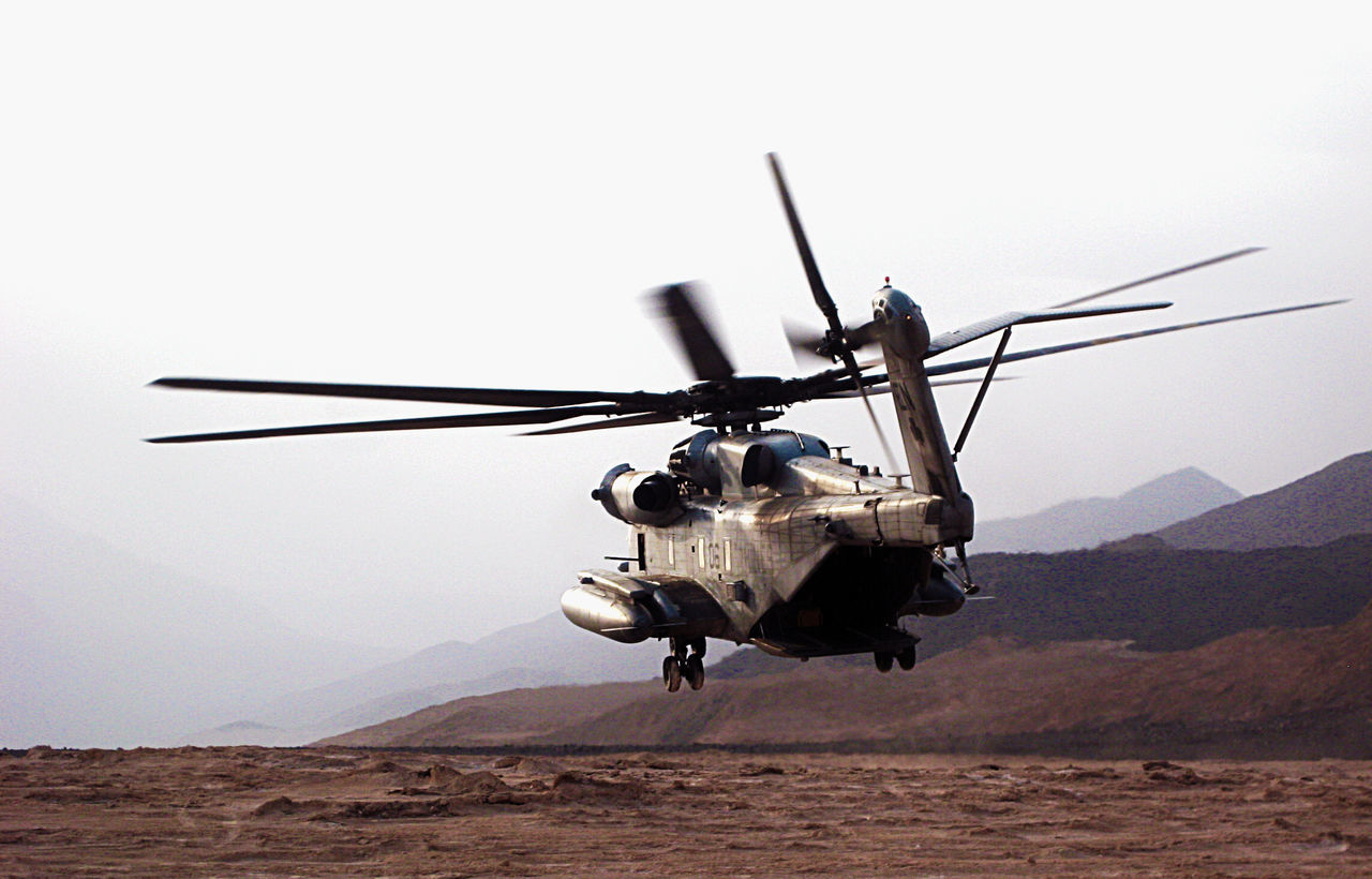 Takeoff Helicopter Military Air Vehicle Outdoors No People Stationary Technology Day Army Drone  CH-53 Marine Corps USMC Djibouti Africa