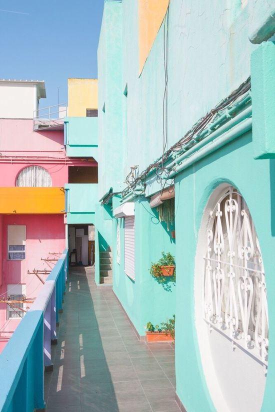 Built Structure Architecture Building Exterior No People Multi Colored Outdoors Houses And Windows Photography Fine Art Photography Contemporary Art Pastel Power Sunny Clear Sky Sky Light And Shadow