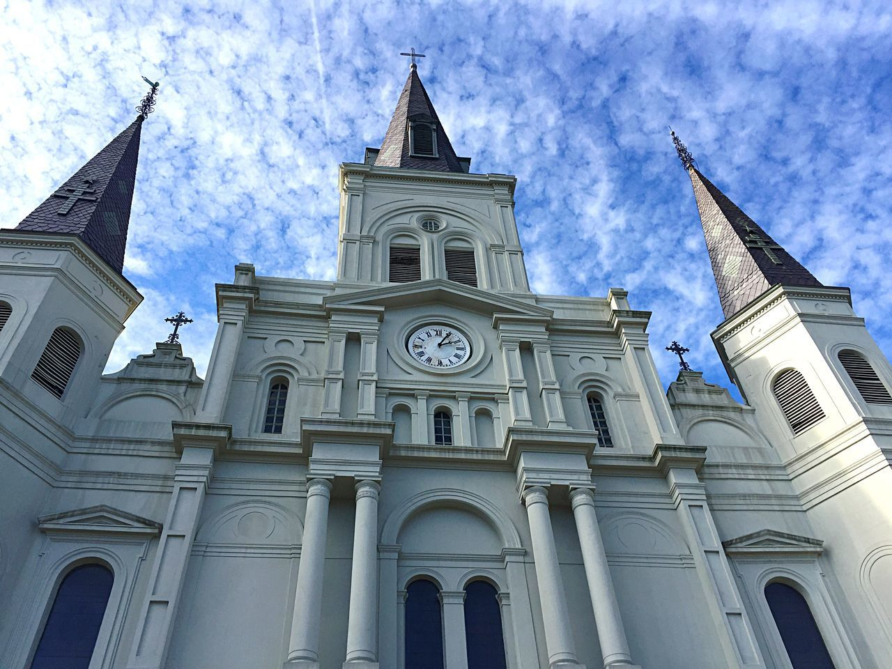 Architecture Building Exterior Built Structure Religion Low Angle View Place Of Worship Spirituality Sky Travel Destinations No People Outdoors Day Rose Window St. Louis Cathedral Jackson Square