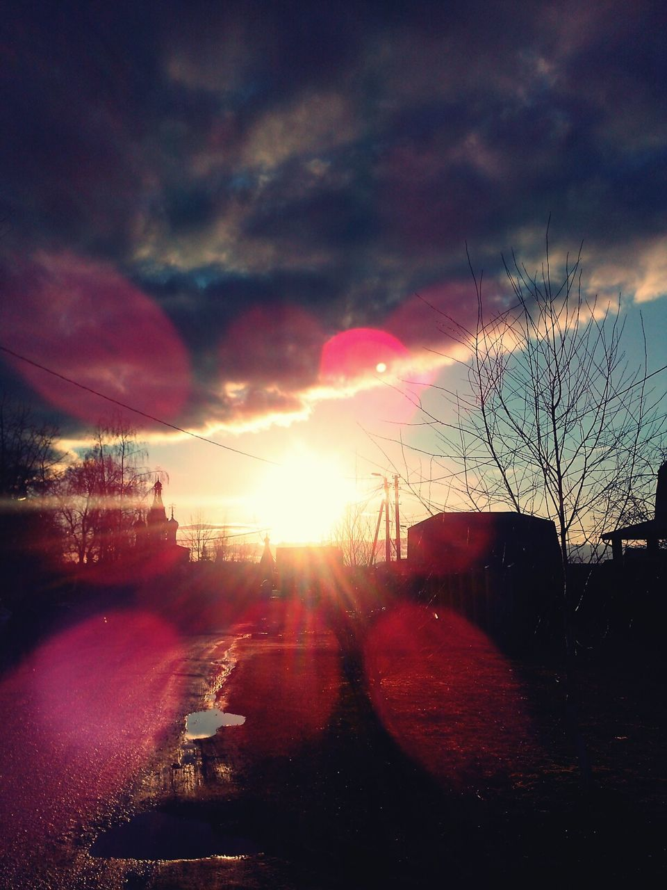 sunset, sky, sun, no people, silhouette, road, cloud - sky, bare tree, tree, outdoors, nature, beauty in nature, city, day