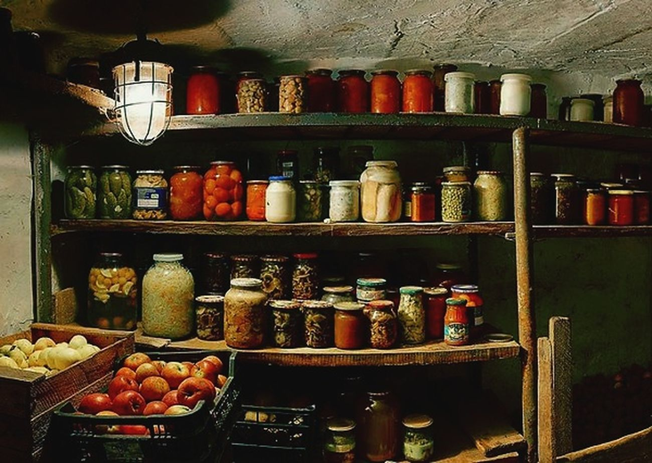 Cellar Room Preserves Homemade Naturel Food Old Times Grandma Recipe Organic Food Jars  Yellow Lamp Warehouse Special👌shot Egzotic Variation Indoors  Food No People Delicious Appetizing Food