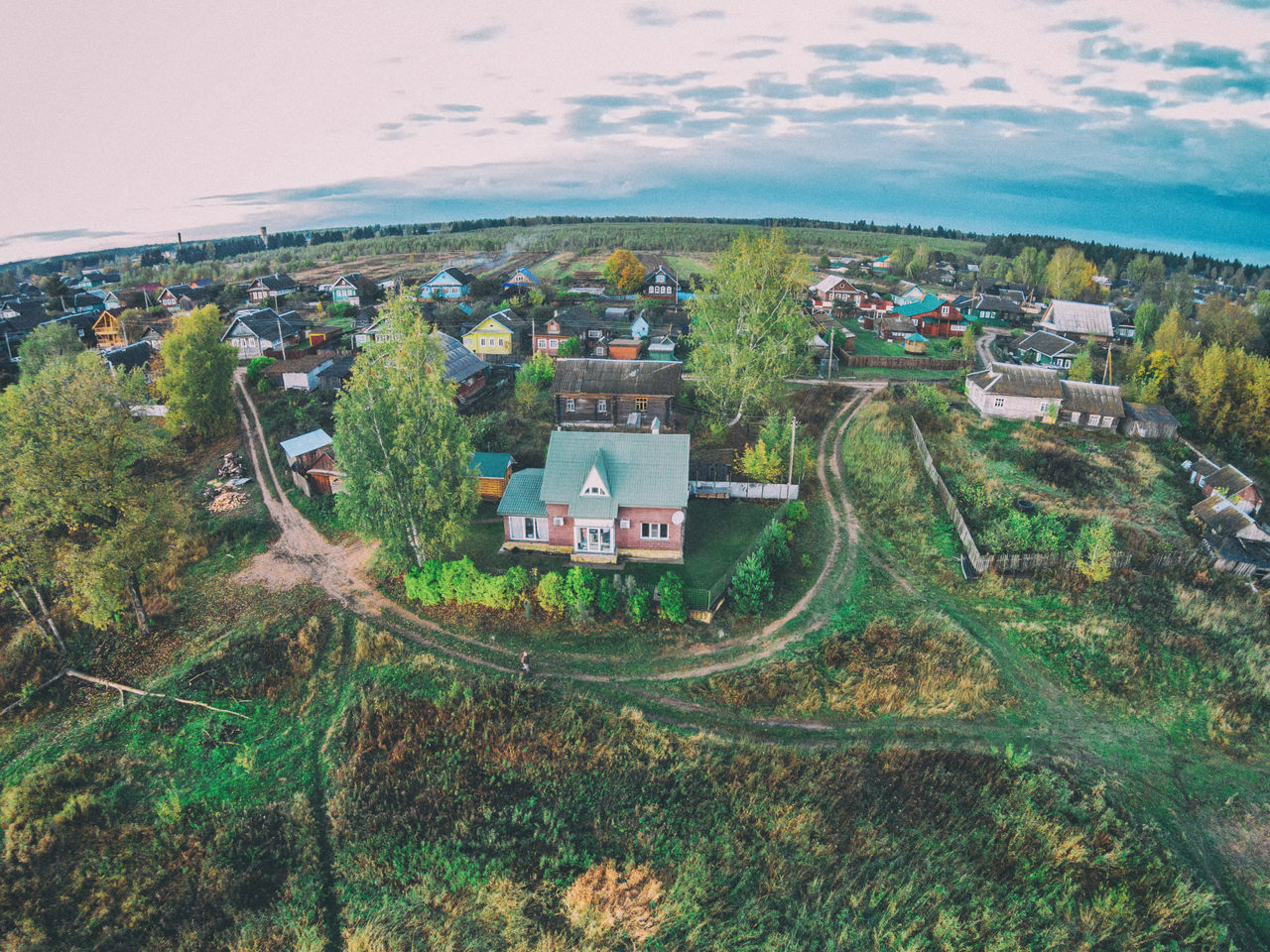 View of the houses of the village with a bird's eye A Bird's Eye View Aerial Aerial View Beauty In Nature Drone  Grass High Angle View Landscape Nature Outdoors Residential Building Rural Scene Sky Travel Destinations Tree