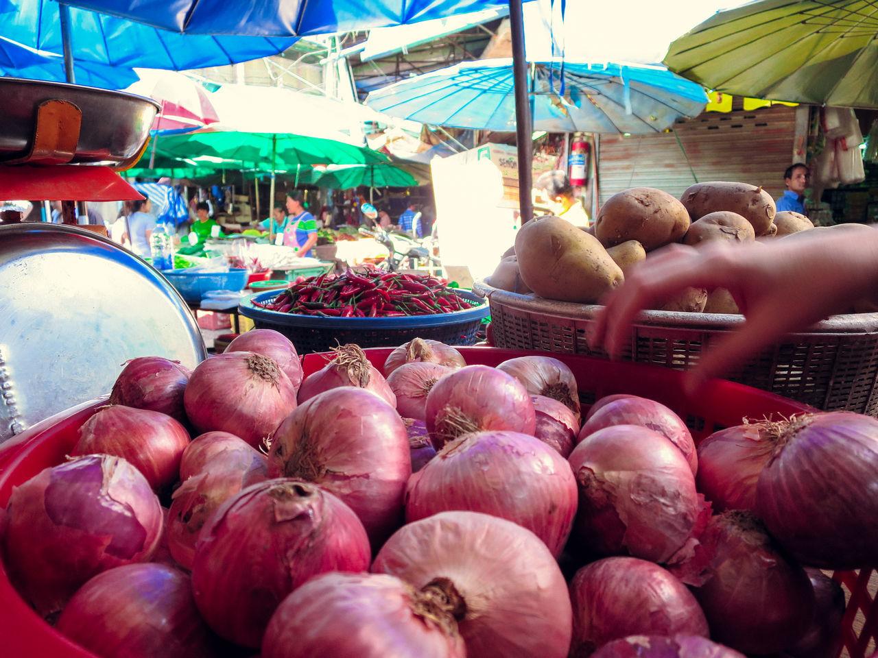 Bangkok Choice Food Food Market Market Market Onions Phra Khanong Red Onions Thailand