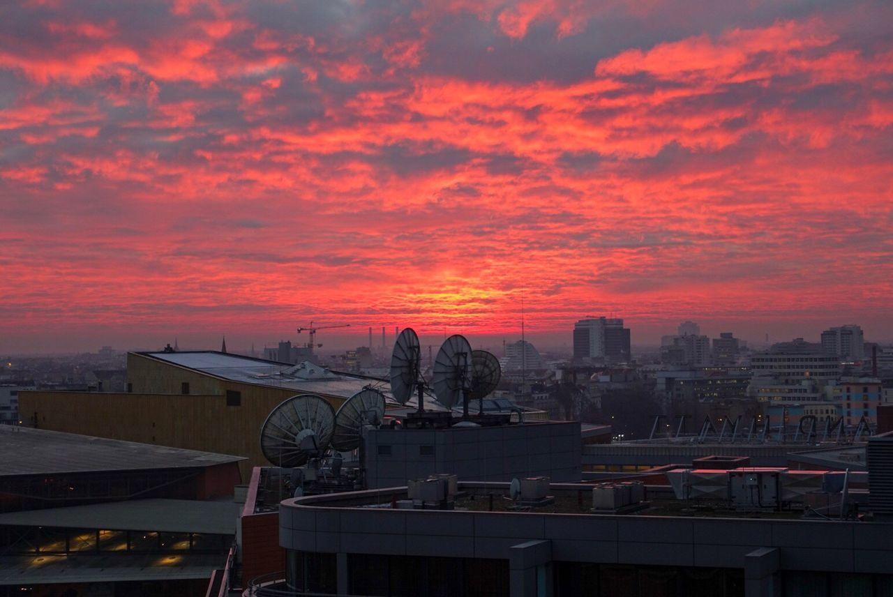 Sunset Westberlin Berlin Cityscape Red Sky On Fire