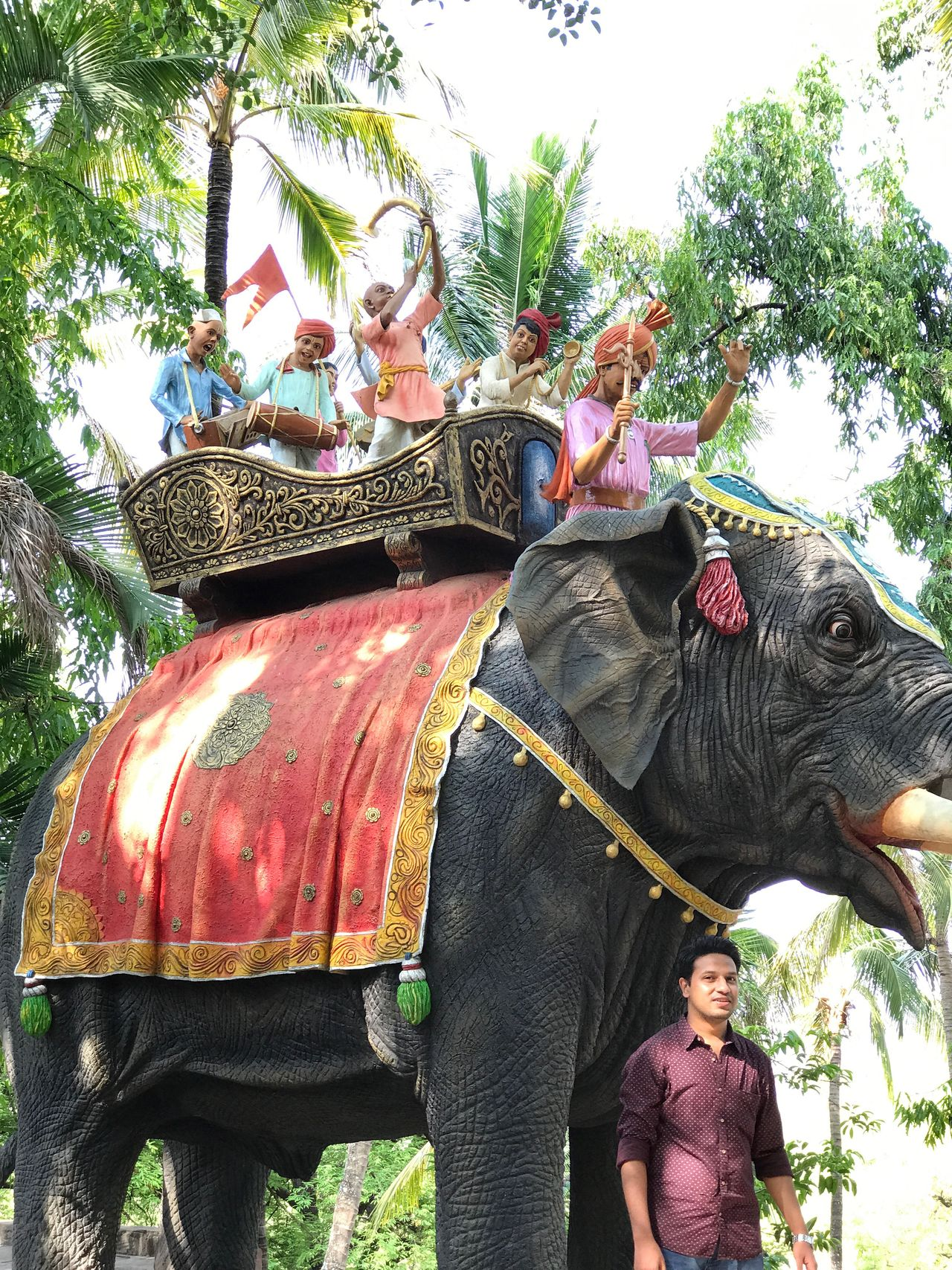Elephant Mammal Working Animal Indian Elephant Riding Domestic Animals Tree Outdoors One Animal Adult Day Lifestyles Real People Sitting Women Men Adults Only Palm Tree Safari Animals Animal Trunk