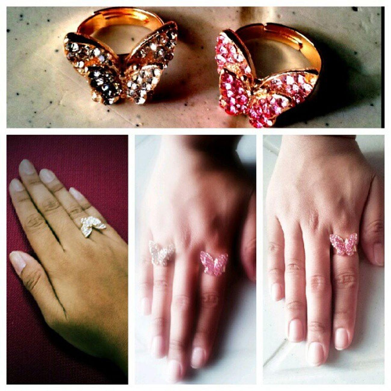 ♥ ☆ ♥ Fingerbling Glittery Shimmering Shiny butterfly mariposa rings blingbling