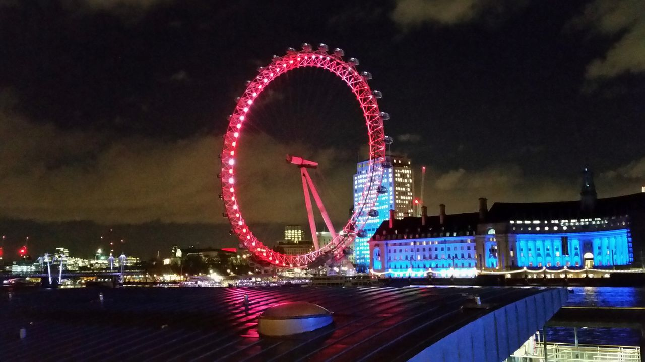 Architecture Arts Culture And Entertainment Big Wheel Building Exterior London Eye Night No People River Sky Thames River