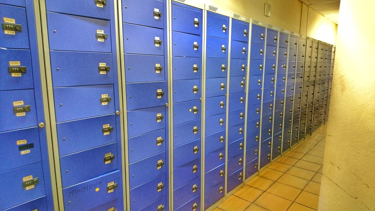Locker Locker Room In A Row Order Mailbox Closed Mail Metal Repetition Public Mailbox Indoors  No People Day Shield Health Club Security Security System