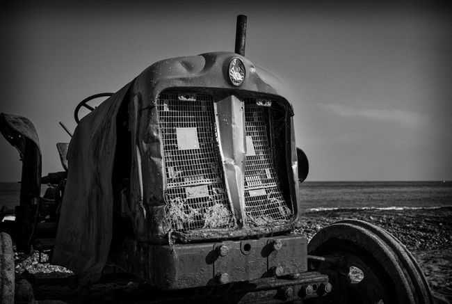 Standing in Line 03. Much loved and much photographed, The tractors on Cromer beach , whilst seen by their owners as mere workhorses are rusty icons ! Monochrome Check This Out EyeEm Best Shots - Black + White Beach Beauty Of Decay Pattern, Texture, Shape And Form Norfolk Uk Blackandwhite Photography Light And Shadow
