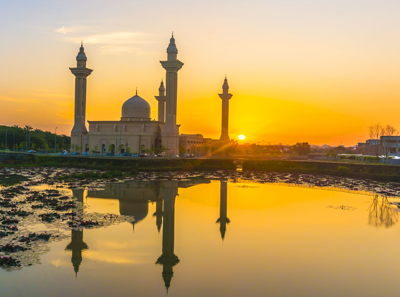 sunset, built structure, architecture, water, reflection, dome, orange color, travel destinations, building exterior, tourism, sky, travel, reflecting pool, history, waterfront, religion, outdoors, spirituality, nature, no people, day