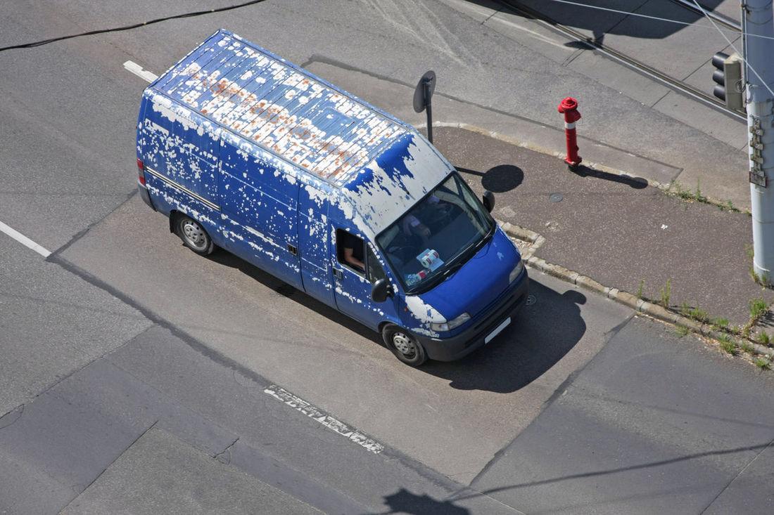 Beaten-up old van Beaten Up Blue Car Move Old Road Rusty Transport Trashyart Van