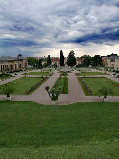 Grass Sky Cloud - Sky Green Color Architecture Park - Man Made Space Formal Garden Outdoors Day Nature Grassy Building Exterior