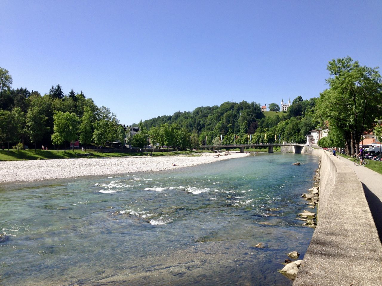 Bad Tölz Bavaria Bayern Beach Beauty In Nature Clear Sky Day Growth Horizontal Isar Isar River Nature No People Outdoors Palm Tree Scenics Sky Tranquil Scene Tranquility Tree Water