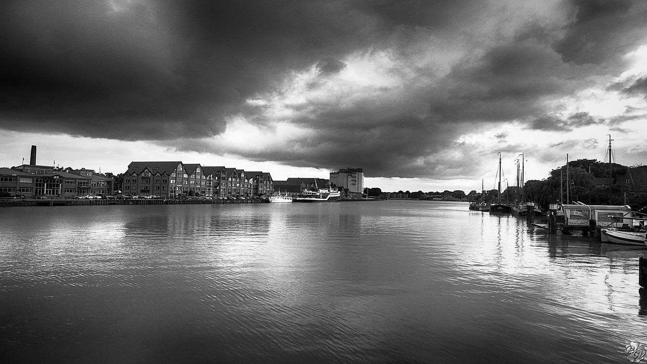 Black And White Bw_collection City Life Cityscapes Cloud - Sky Monochrome Water_collection Waterfront Ostfriesland Leer (Ostfriesland)