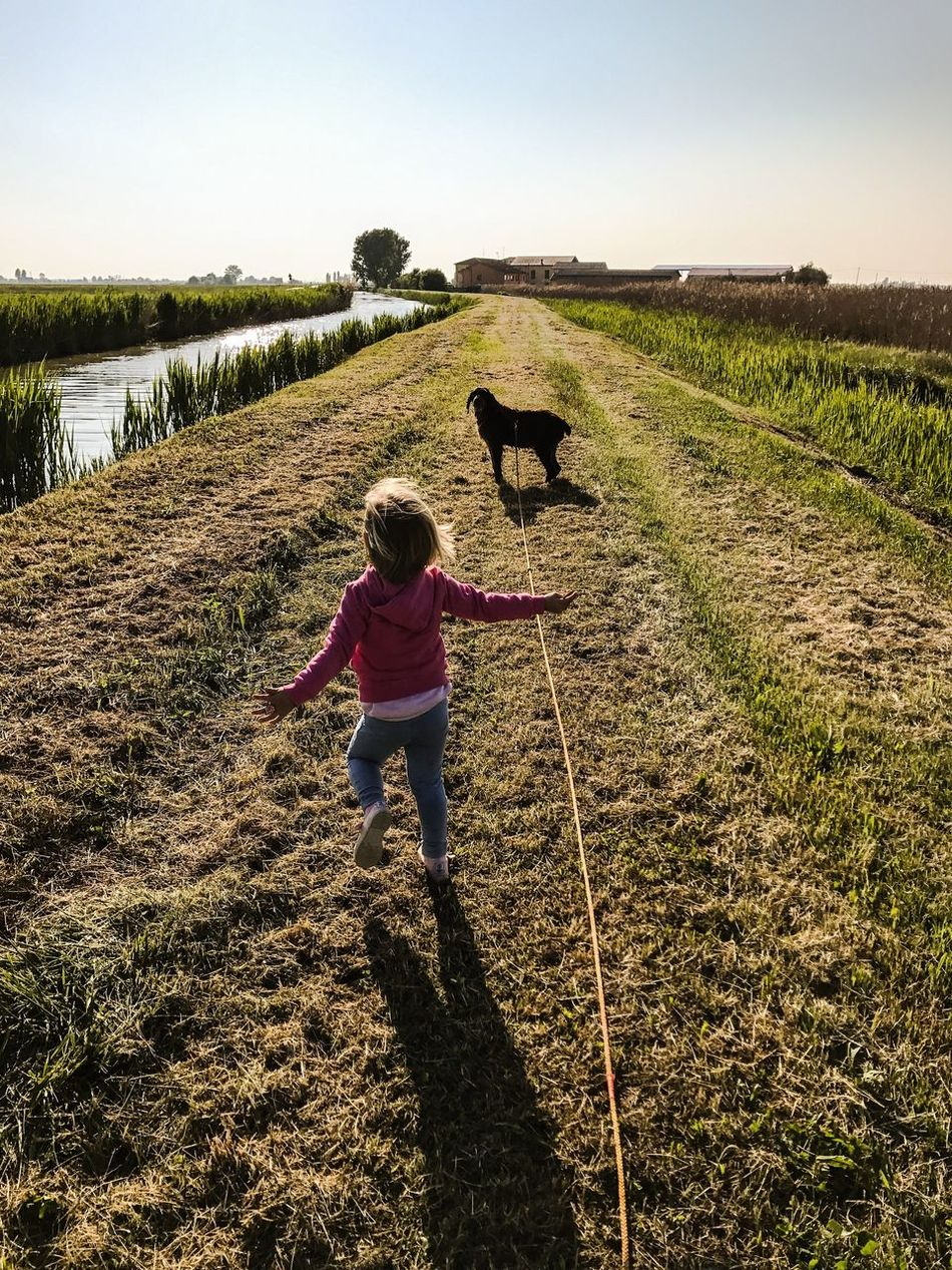 Happy hiking with dog Domestic Animals Nature Field Landscape Dog Baby Running Home Love Countryside River Springtime Hiking