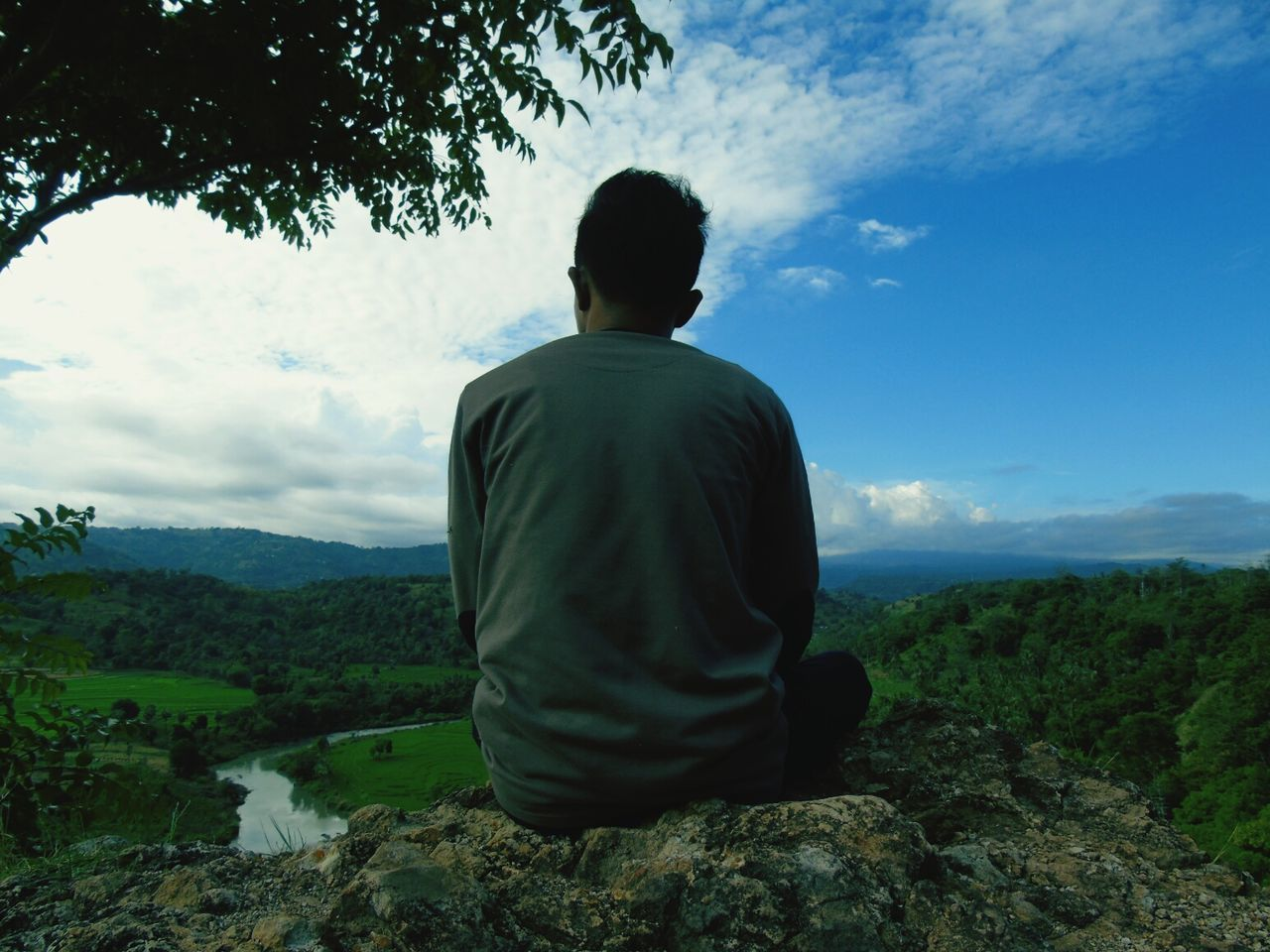 rear view, sky, real people, one person, men, nature, tree, mountain, landscape, tranquil scene, cloud - sky, outdoors, standing, day, sitting, beauty in nature, scenics, one man only, people