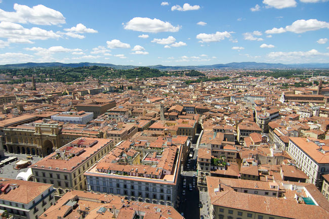 Florence from above. Aerial View Architecture Cathedral Church City Cityscape Clouds Day Dome Florence High Angle View History Italy No People Outdoors Rennaisance Roof Rooftop Santa Maria Del Fiore Sky Travel Destinations Tuscany Urban Skyline