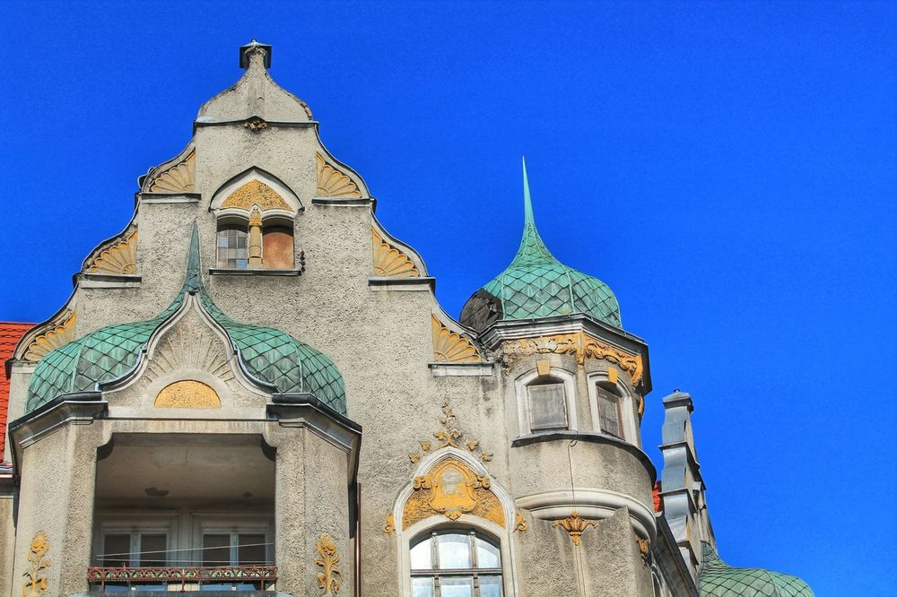 Alcoves Architecture Balcony Bowfront Building Exterior Built Structure City City Life Colorful City Day Design Dome House Low Angle View No People Outdoors Poland Roof Rooftop Sky Stettin Szczecin Travel Destinations Window
