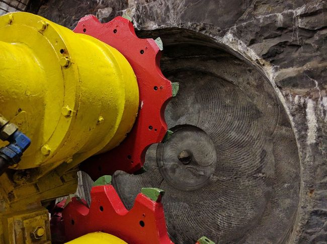 Multi Colored Shape Gear No People History Mining Heritage Bochum Mining Industry Industrial Equipment Yellow Business Finance And Industry Manufacturing Equipment Technology Mining Industry Iron - Metal Red Architecture Psyched
