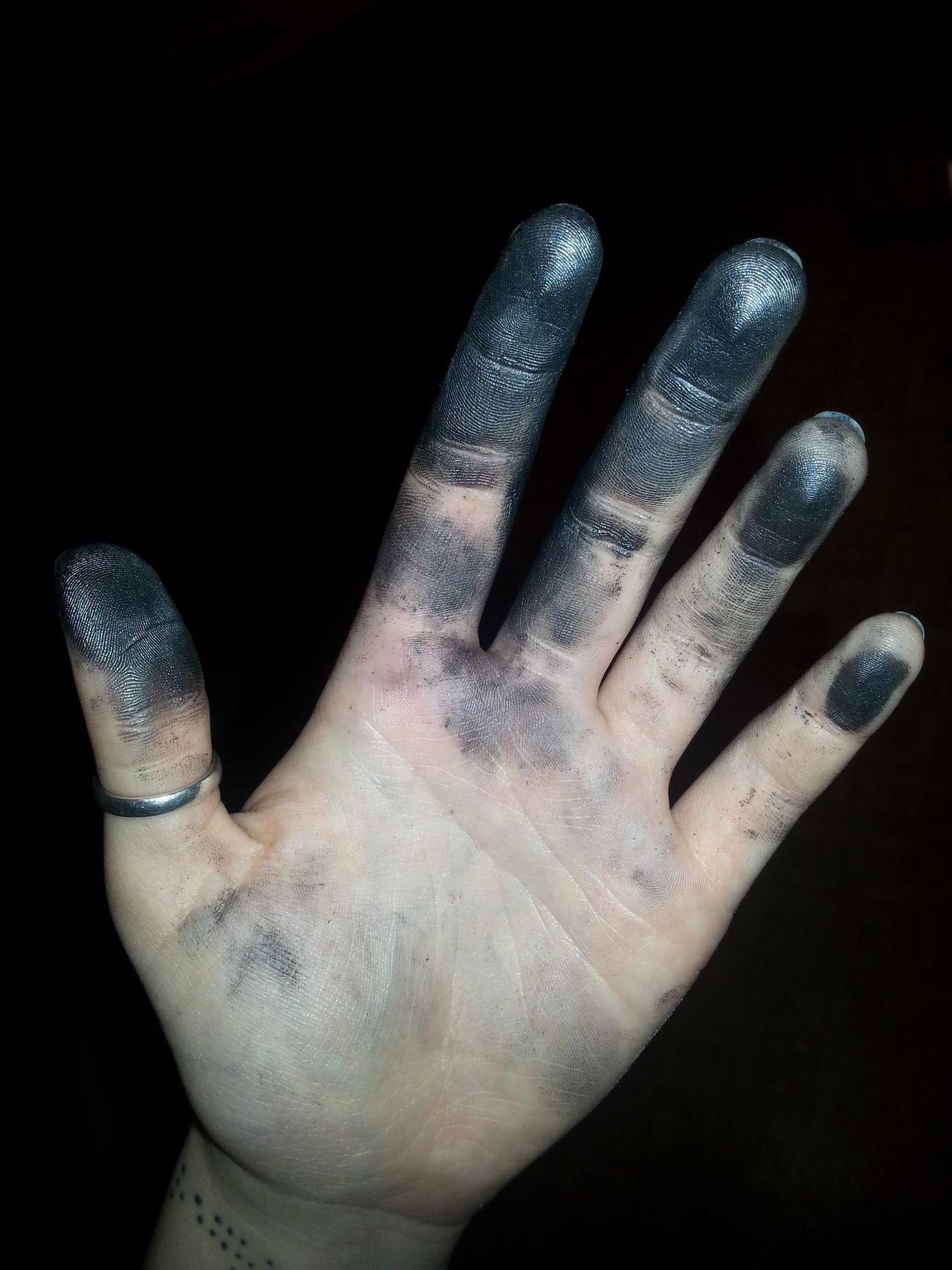 Art Black Background Close-up Crafts Glittering Graphite Human Body Part Human Finger Human Hand Studio Shot