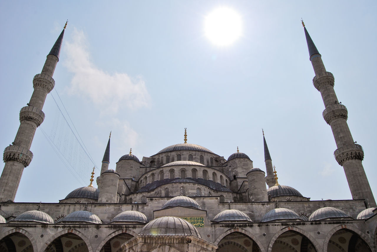 Low Angle View Of Sultan Ahmed Mosque Against Sky On Sunny Day