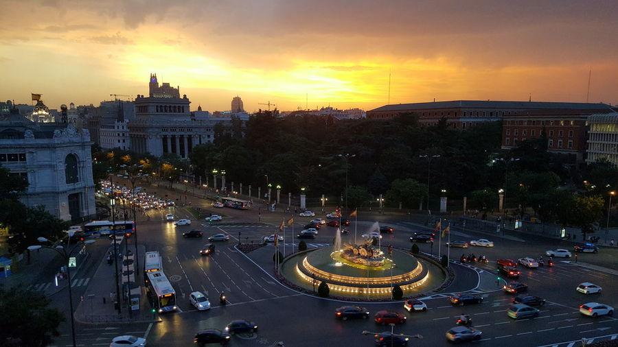 Madrid Cibeles Palace Night Sky City Street Sunset
