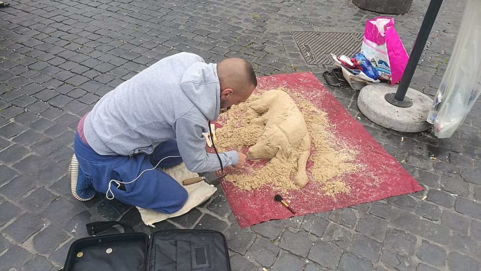 High Angle View Adults Only One Person Adult People Men Food Outdoors Day One Man Only Only Men Street Art Roma Street Photography Street Art Artist Street Artist At Work Artist Painting Rome Italy🇮🇹 Sand Art