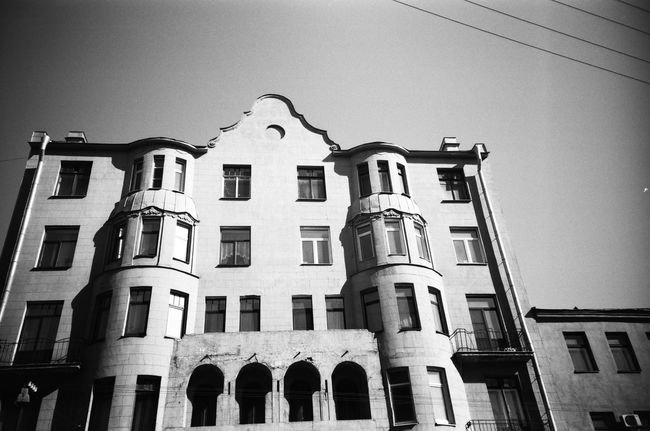 Built Structure Architecture Building Exterior Clear Sky Building Story Window Shadow Doublecolors Façade Building Anticolors Saintpetersburg Facades Black And White Blackandwhite 50shadesofgrey Grayscale Monochrome FiftyShadesOfGrey Monochrome Photgraphy Streets City Life Outdoors Fiftyshades Bandw