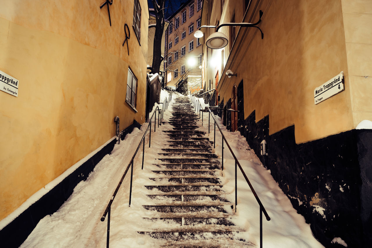 Night time wondering around Stockholm's Gamla Stan. Architecture Built Structure City Europe Gamla Stan Illuminated Nightphotography Old Town Steps Winter Adapted To The City Sweden Urban Geometry