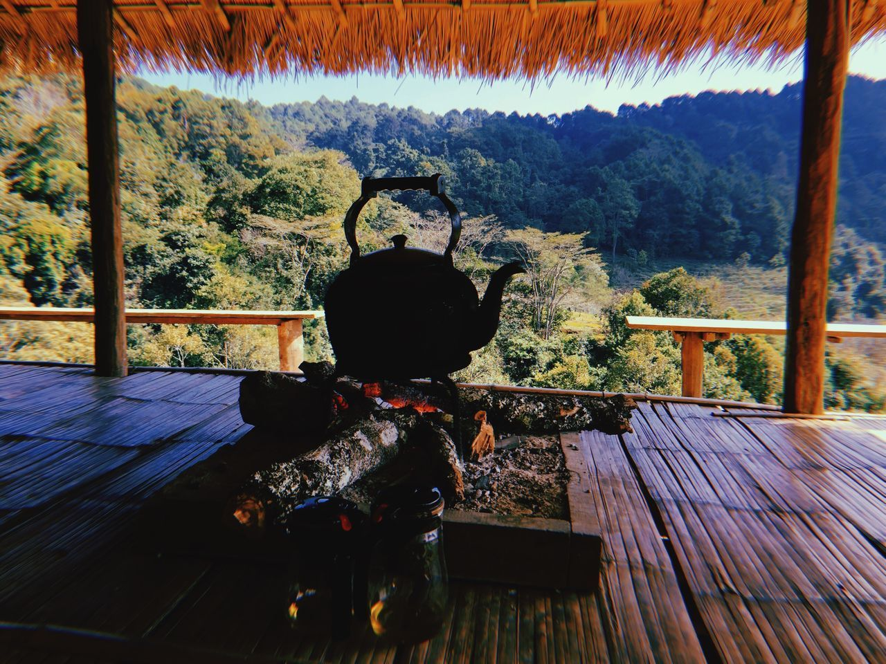 Hill tribe Life Chiangmai Thailand Chiangmai Kettle Bonfire Wood Bonfire Wood - Material Rear View Indoors  Table Nature Tree Day Mountain Beauty In Nature