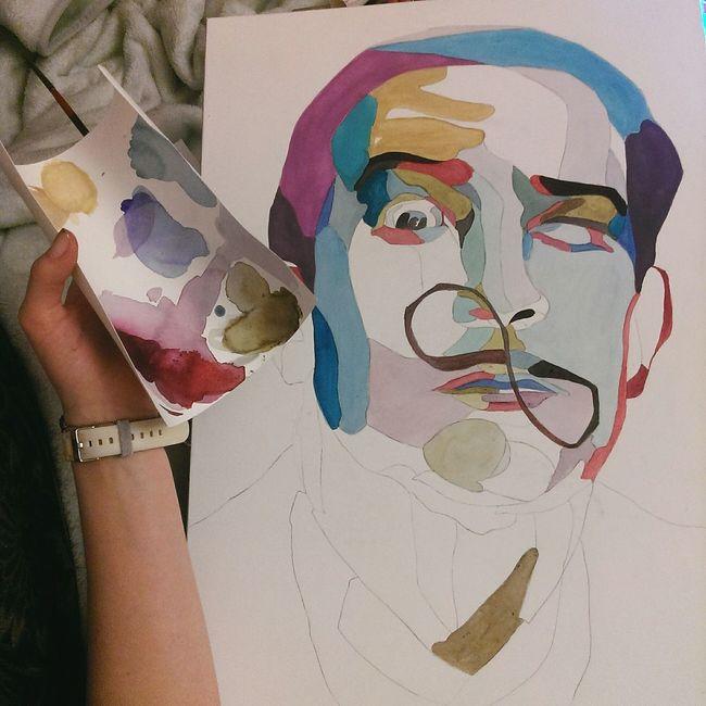 Salvadordali Akvarell Peint Portrait Art ArtWork Drowing Popart Myself Working Like Ukraine_art