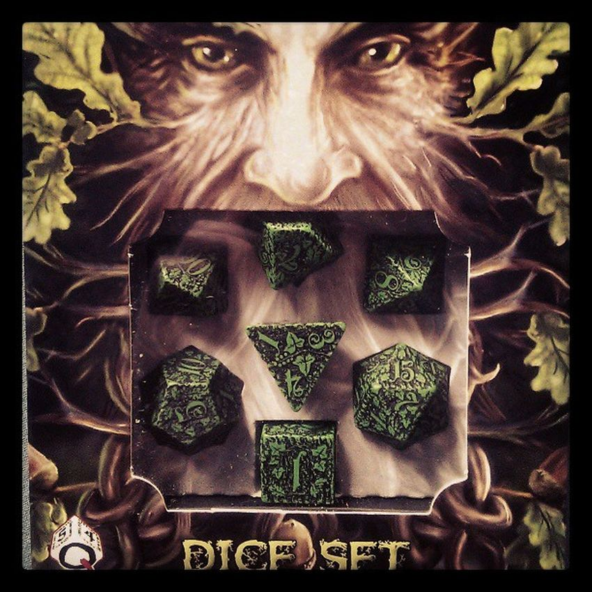They arrived. #dice #diceset #pandp #roleplay #rpm #d20 #d8 #d10 #d4 d100 #forest #qworkshop Forest Dice D4  Roleplay Rpm D10 Diceset Pandp Qworkshop D8 D20