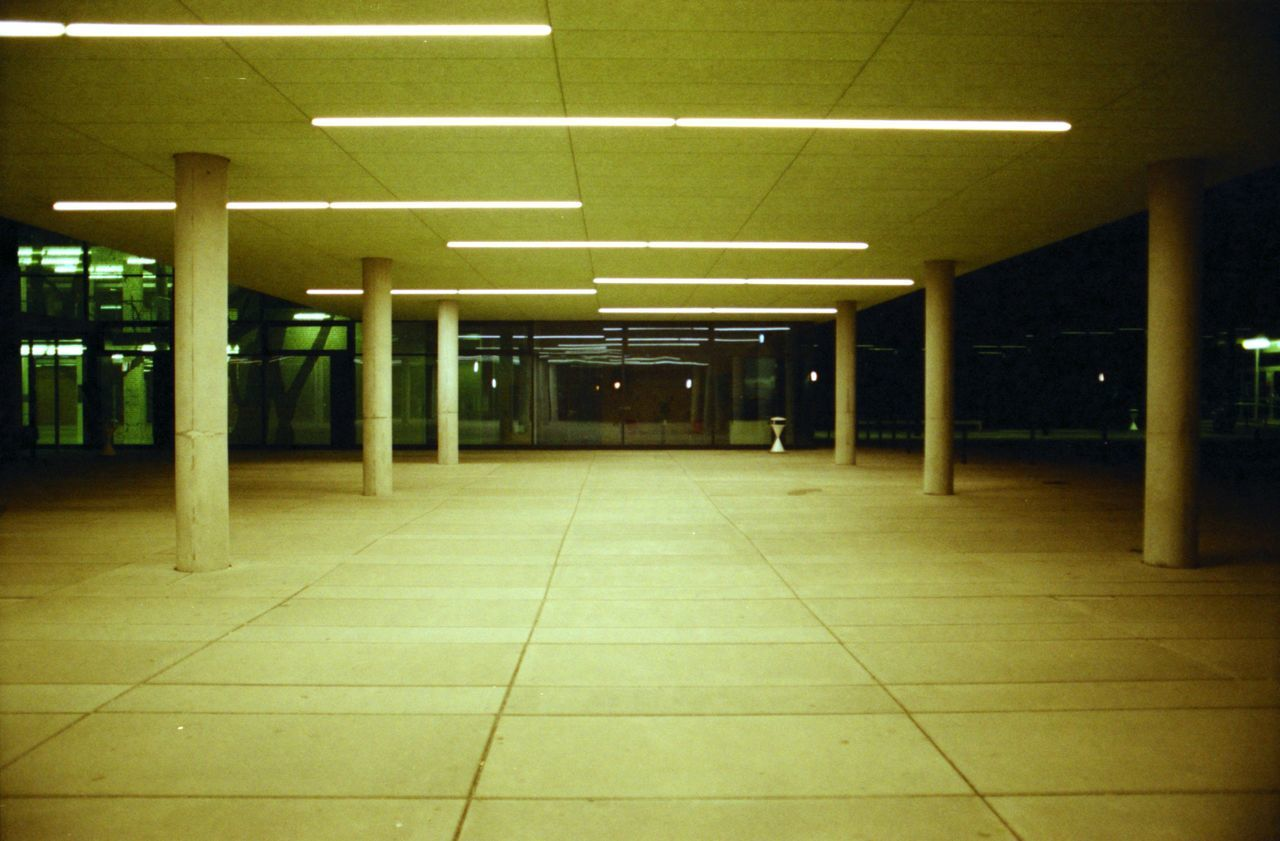 Analogue Photography Architecture Empty Georg Forster Illuminated Light And Shadow Neon Lights Night No People University White Neon Lig
