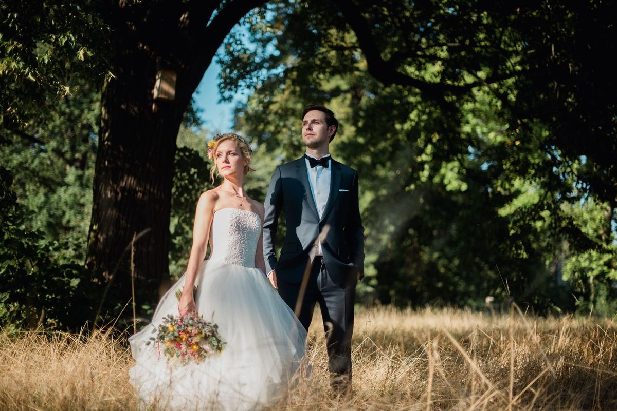 Julia & Malte. Tree Full Length Togetherness Person Well-dressed Young Women Front View Full Suit Park - Man Made Space Outdoors Long Hair Nature Day Wedding Wedding Dress