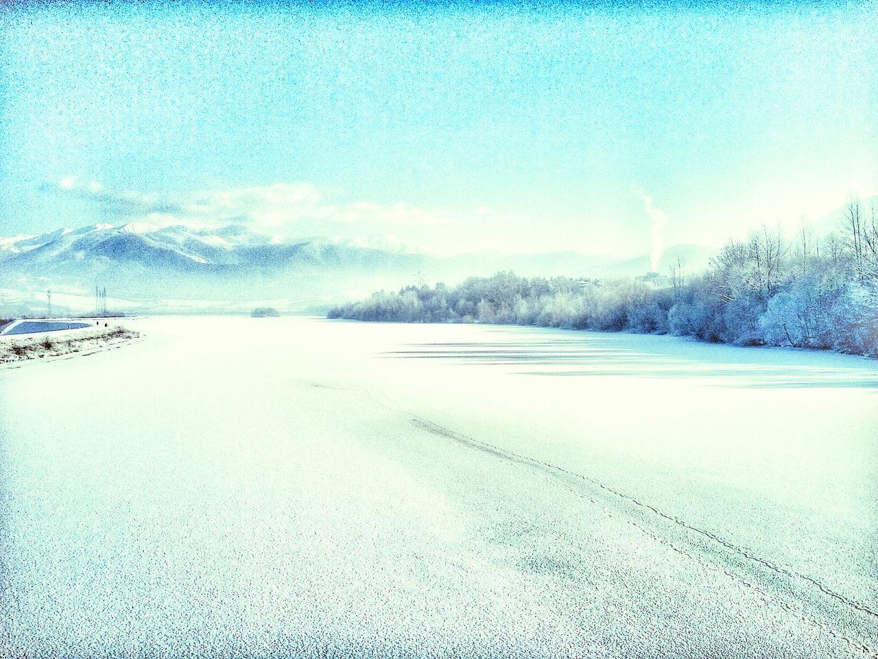 Winter Landscape Frozen Nature Frozen River Ice Moutains Sunny Day Pastel Shades Pastel Power Pastel Blue