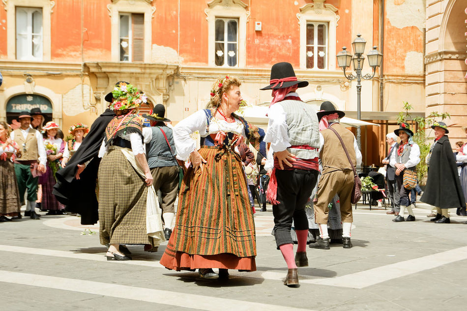 Chieti, Italy - May 08, 2016: typical folk dances in costume in the street of Chieti Abruzzo Ballet Chieti Clothing Costume Couple Culture Dance Dancer Dancers Dress Folk Folklore Folkloristic Italy People Traditional