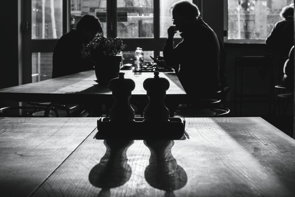 Leisure Activity Adult Indoors  Real People People Table Sitting Leisure Games Day Silhouette Streetphotography Black And White Street Photography