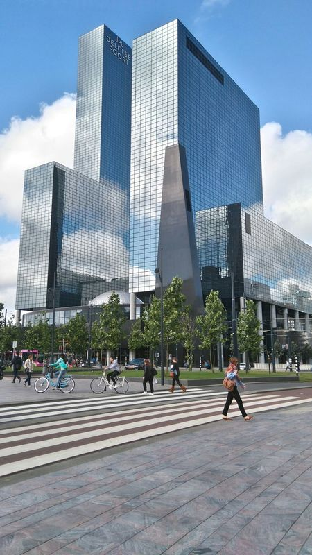 Rotterdam Delftse Poort Reflection Architecture Built Structure Skyscraper Building Exterior Modern City Day City Life Sky Outdoors Financial District  Real People Men People