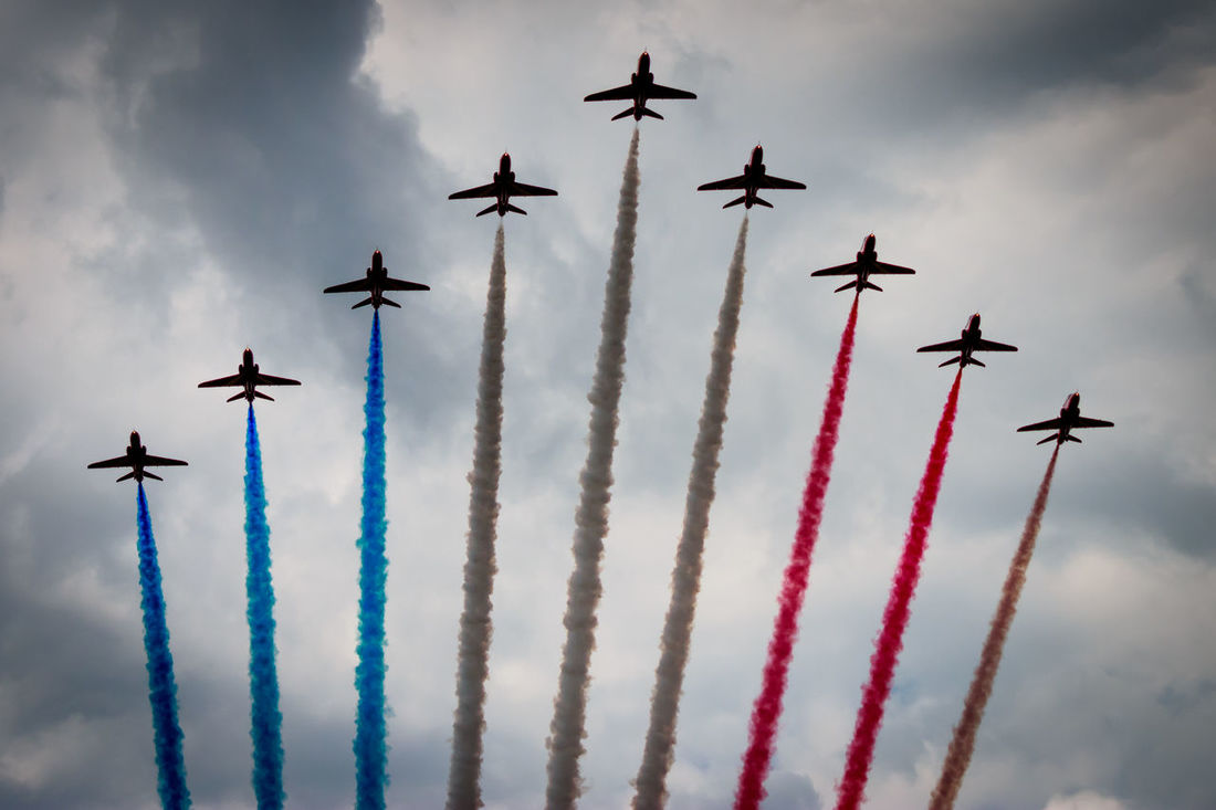 Adventure Club Airshow Cloud - Sky Colourful Flying Mid-air Mode Of Transport National Museum Of Flight Red Arrows Sky