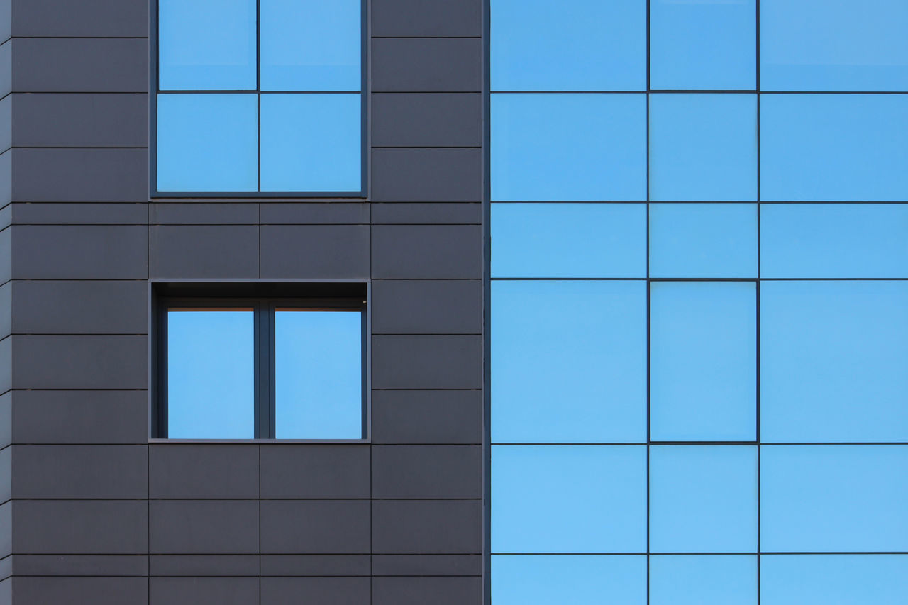 Architecture Backgrounds Blue Building Exterior Built Structure Day Full Frame Geometric Shape Glass - Material Gray Lines Modern No People Office Building Part Of Rectangle Reflection Repetition Simplicity Window Windows
