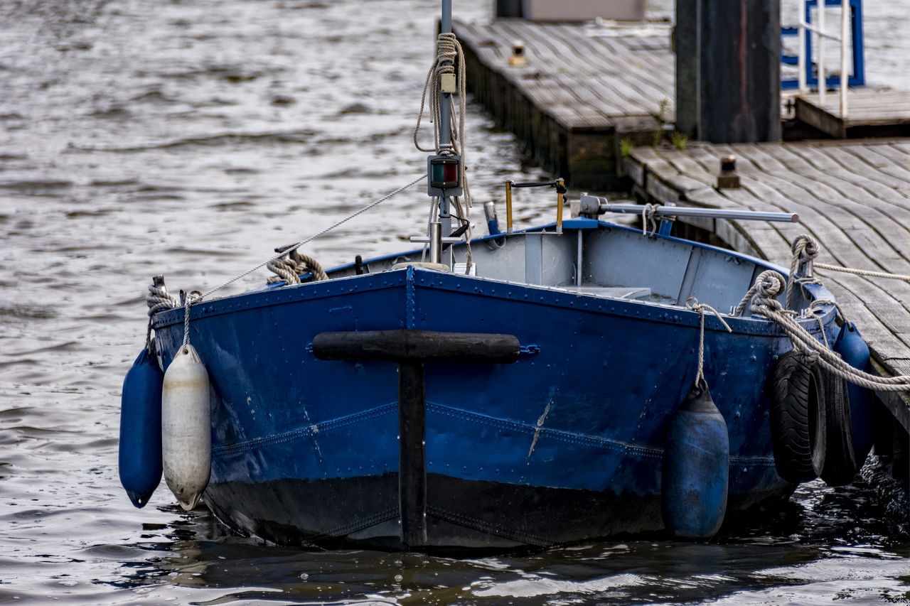 Blue boat Blue Close-up Day Elbe River Finkenwerder Hamburg Harbour Moored Nature Nautical Vessel No People Outdoors Sea Transportation Water