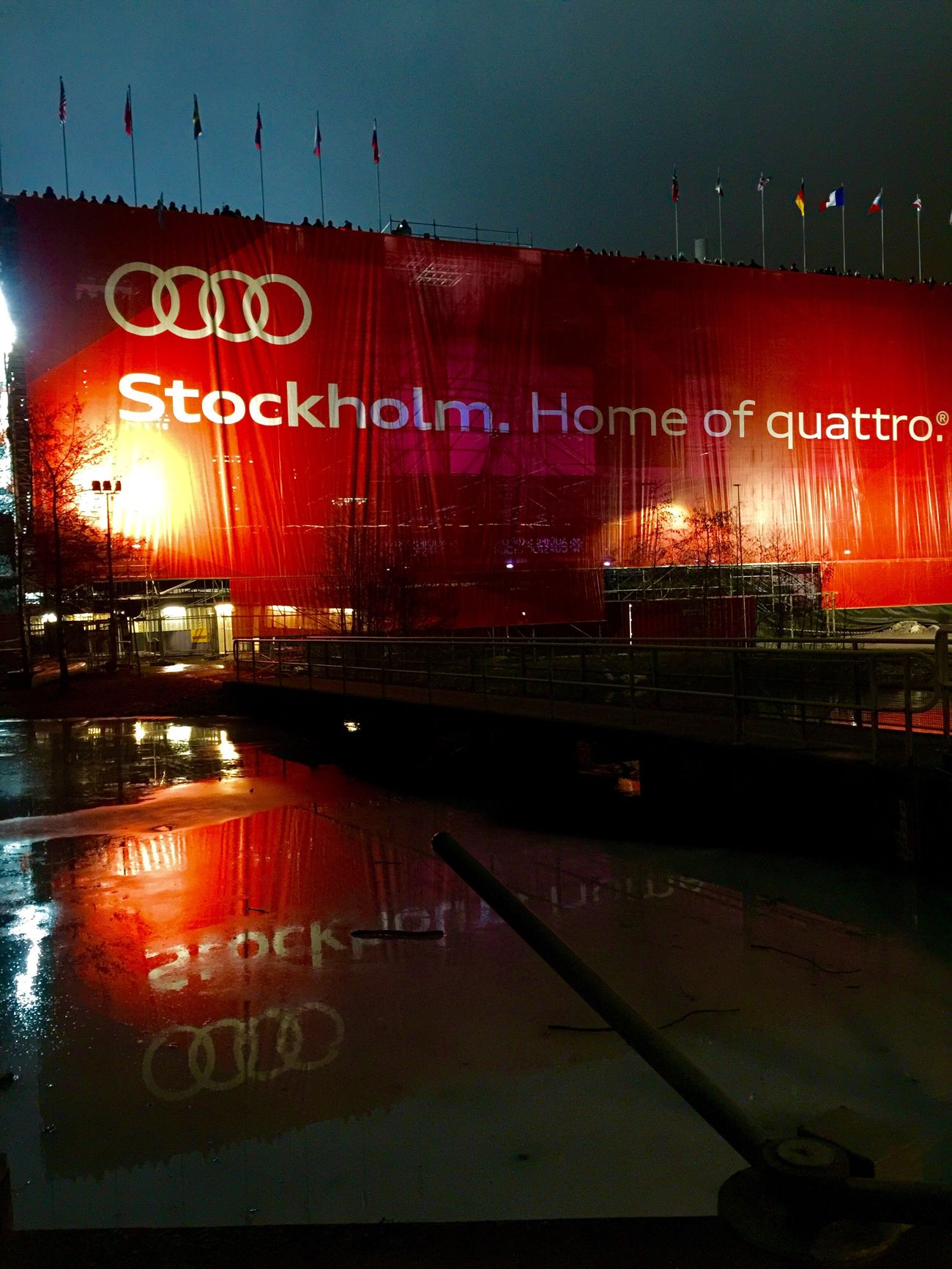 Text Illuminated No People Reflection Outdoors Red Building Exterior Water Land Vehicle Sky Architecture Night Audi